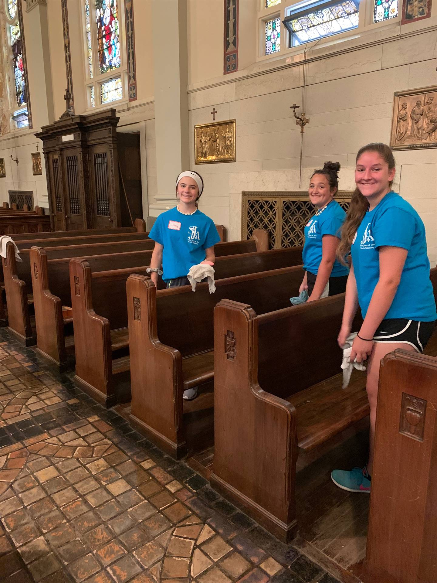 Kids Cleaning Pews